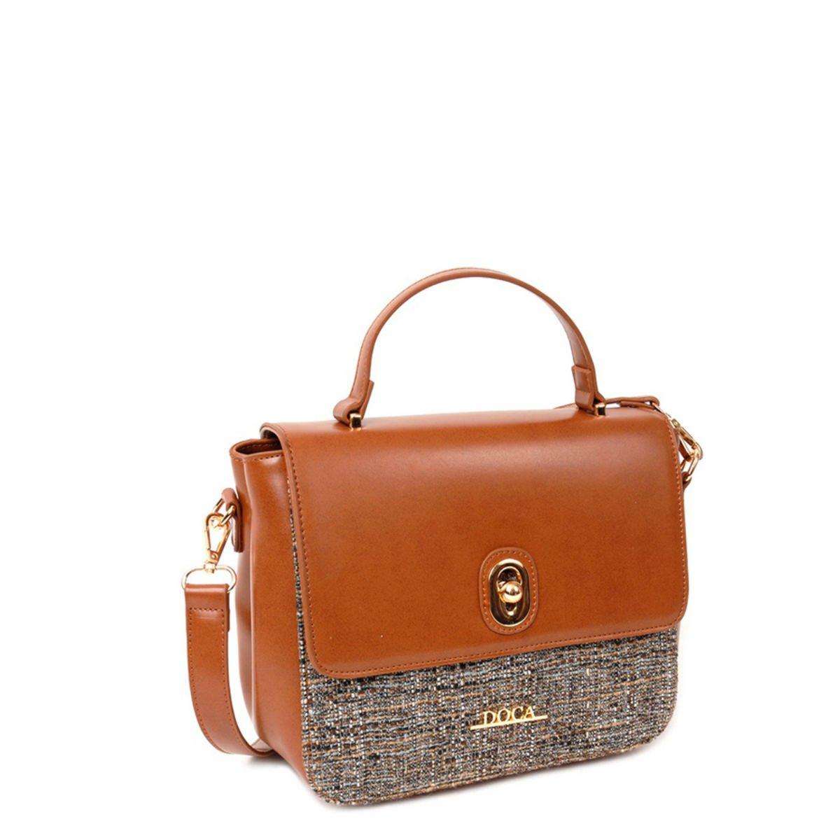 Hnědá lesklá kabelka DOCA - Glamour