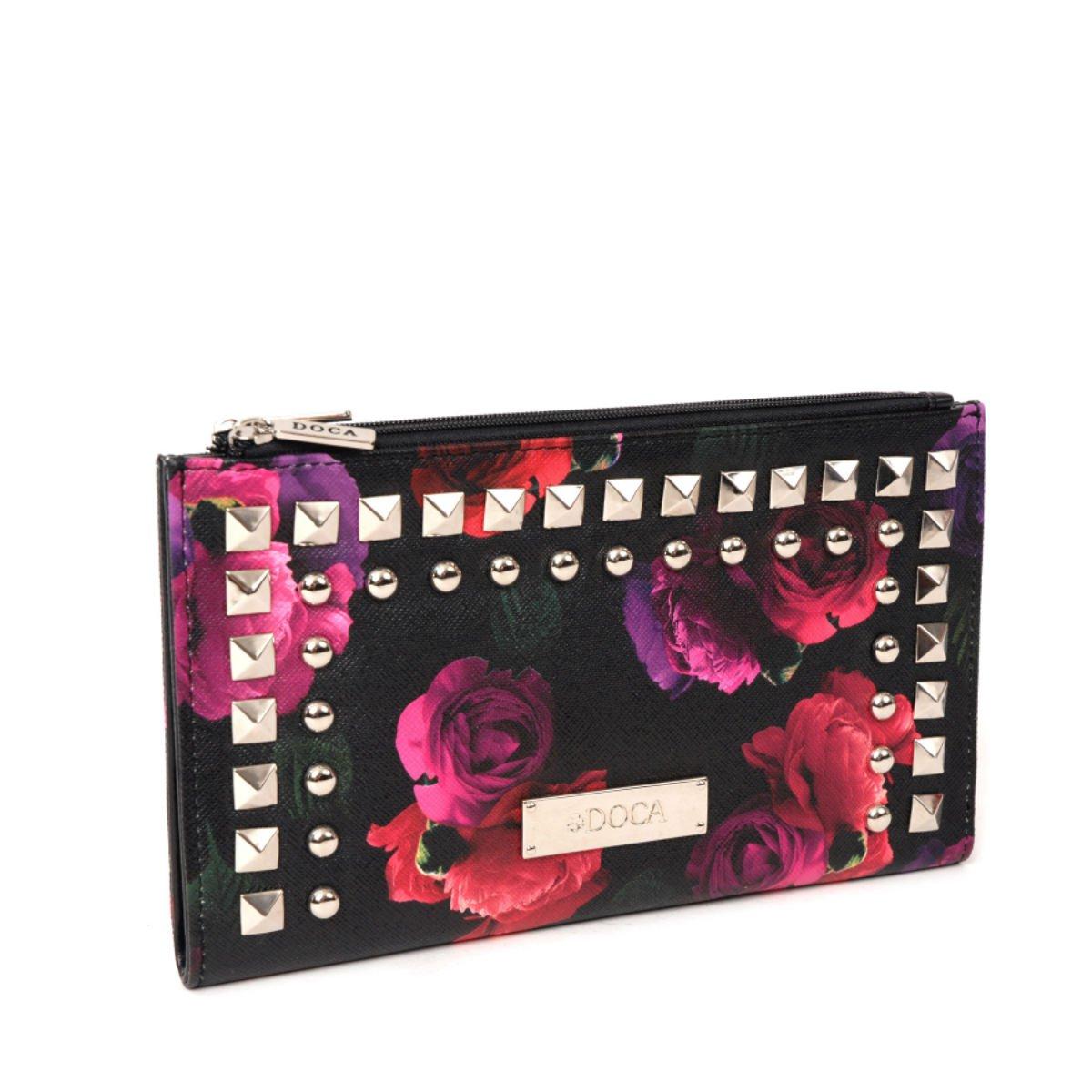 Černá peněženka s květy - Rock And Roll