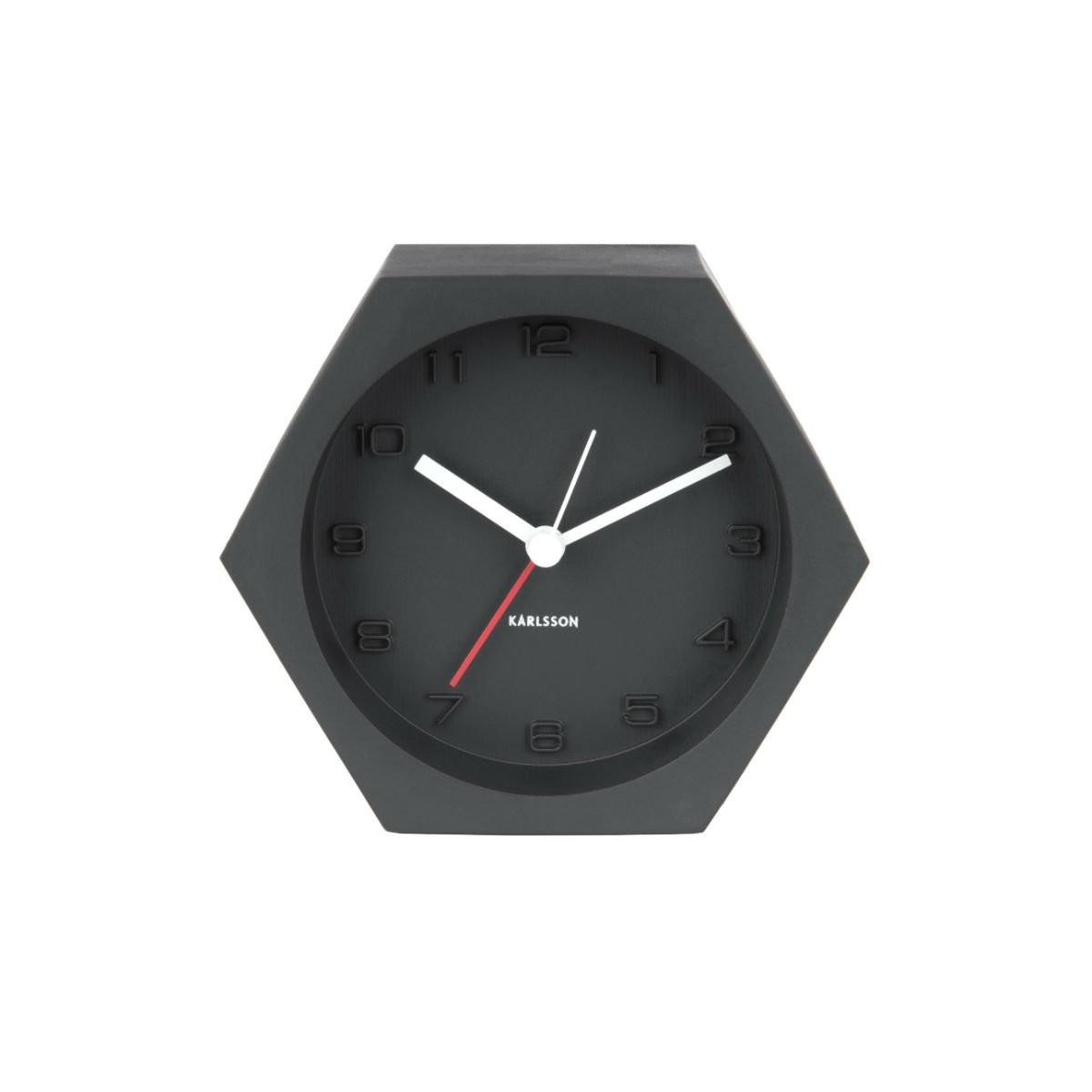 Tmavě šedý budík – Hexagon Concrete
