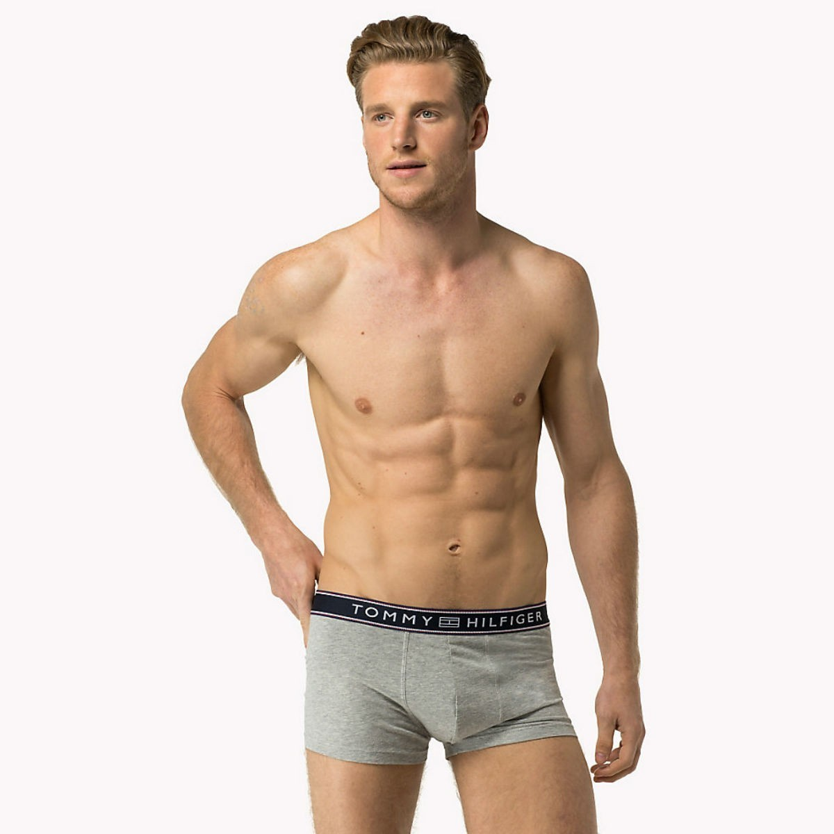 Šedé boxerky Tommy Hilfiger - Cotton Low-Rise - S