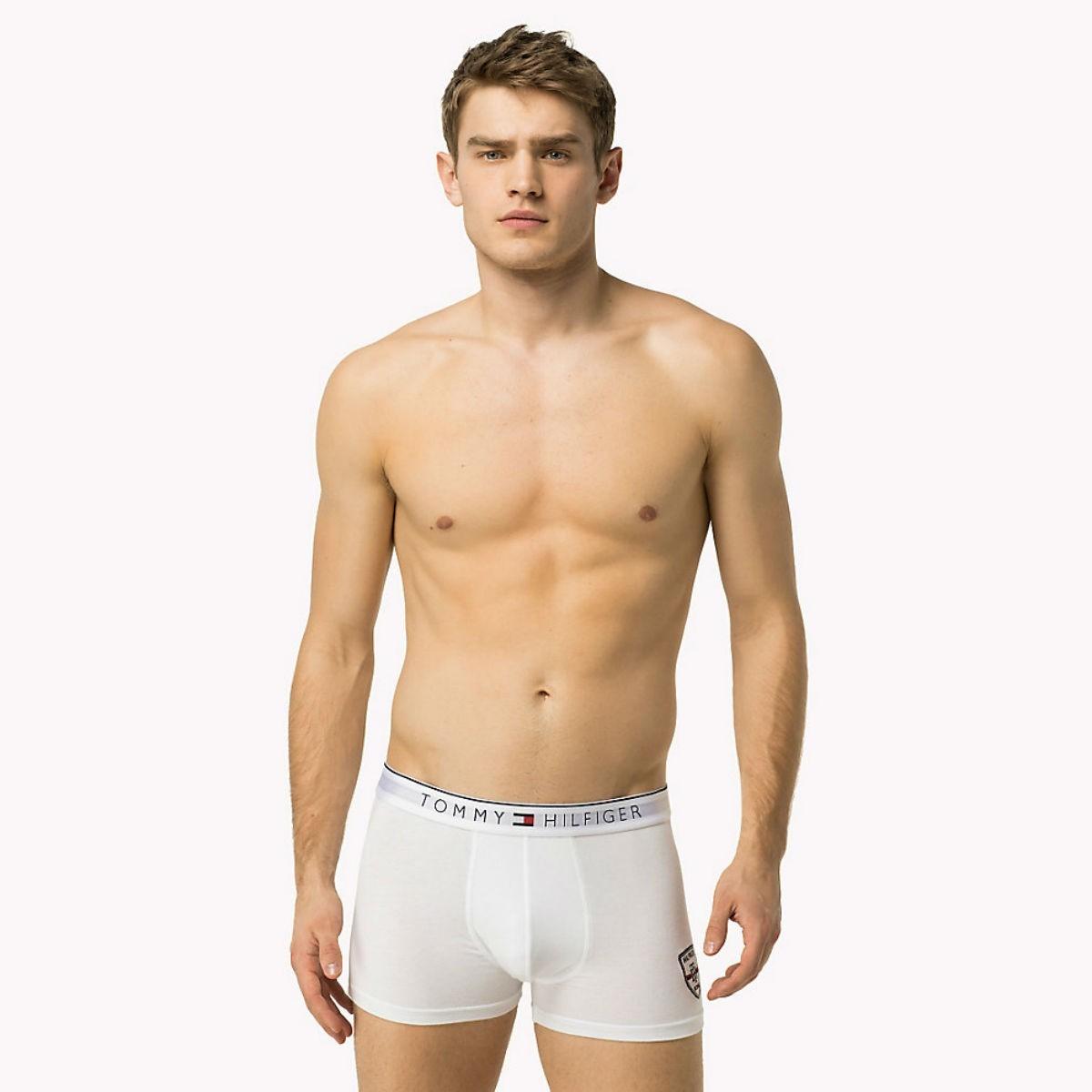 Bílé boxerky Tommy Hilfiger - Cotton Crest - S