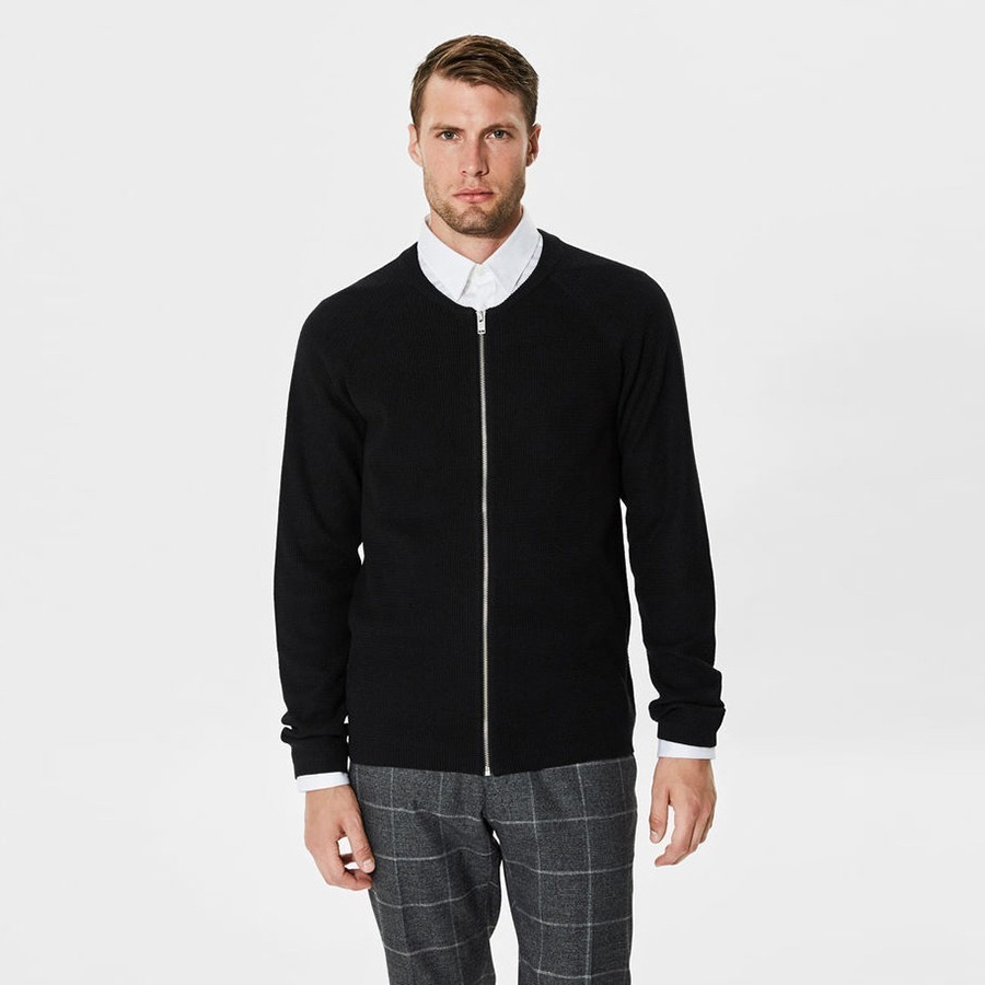 Černý cardigan na zip – Warm S