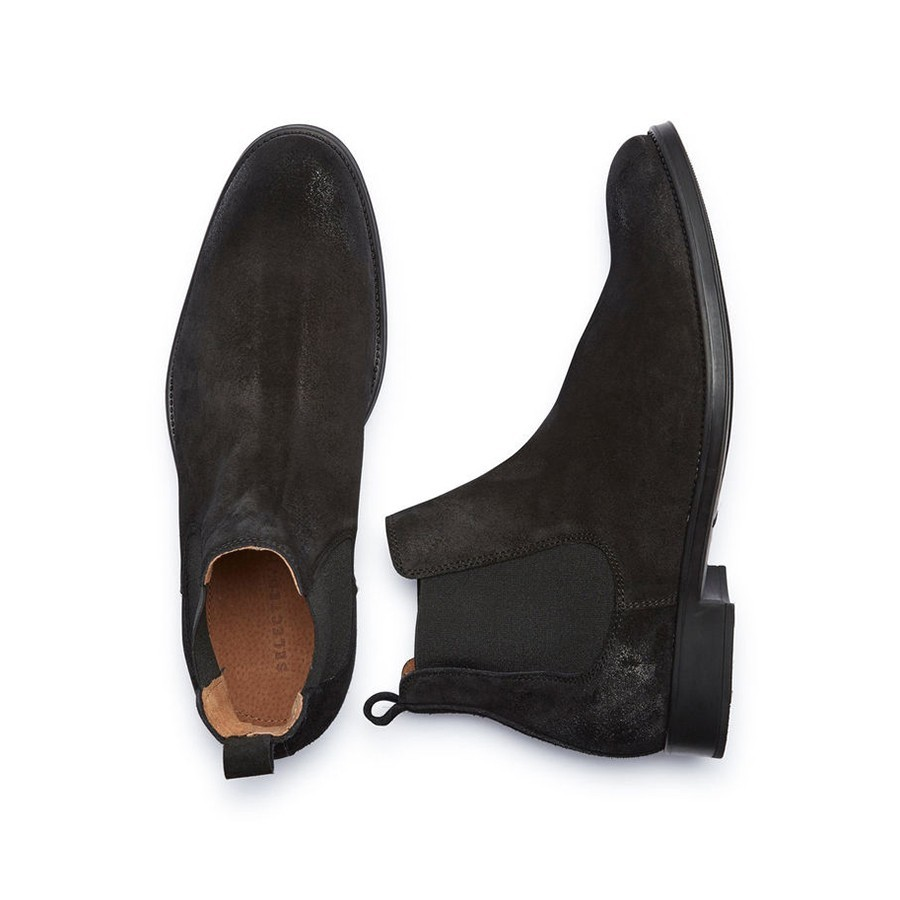 Černé kožené kotníkové boty - Chelsea 43