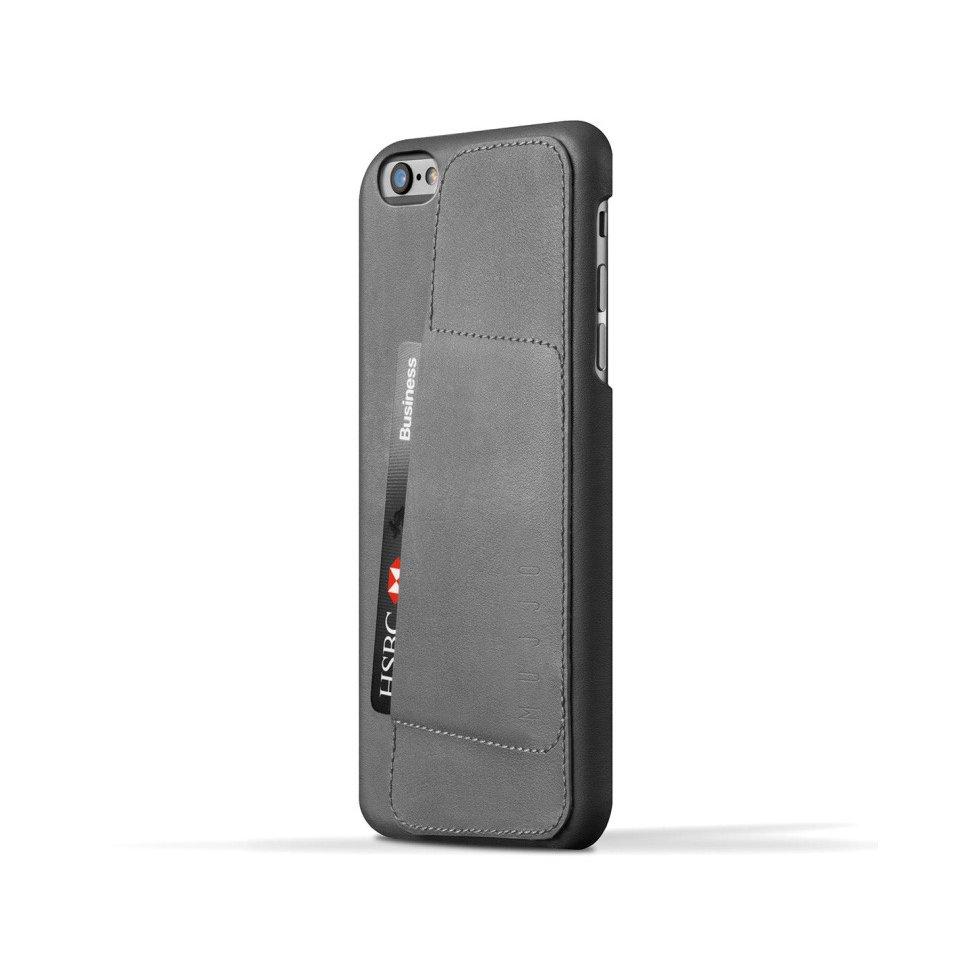 Šedý kryt na iPhone 6 Plus – Leather Wallet 80° Mujjo