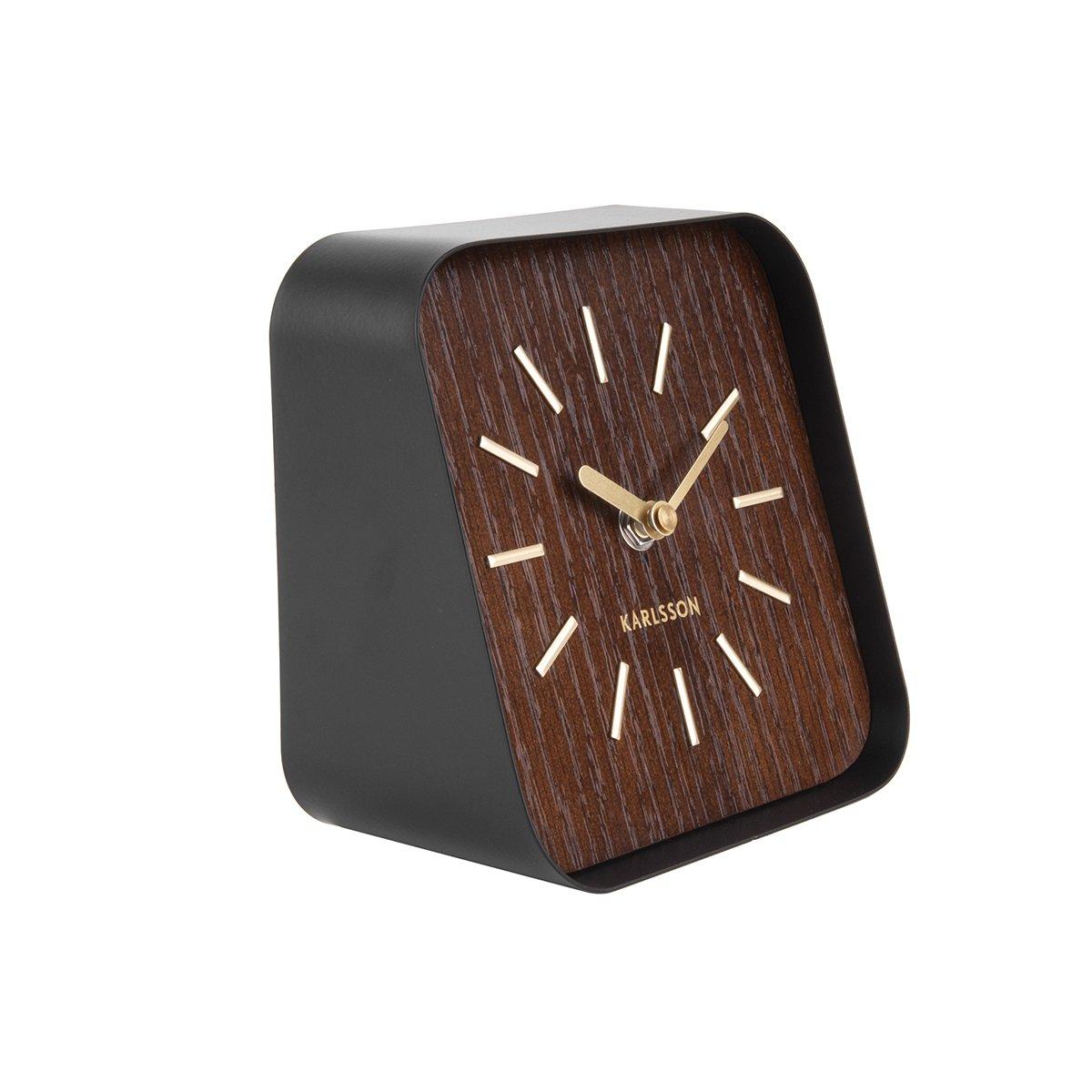 Stolní hodiny Squared – tmavé dřevo 02319f197f