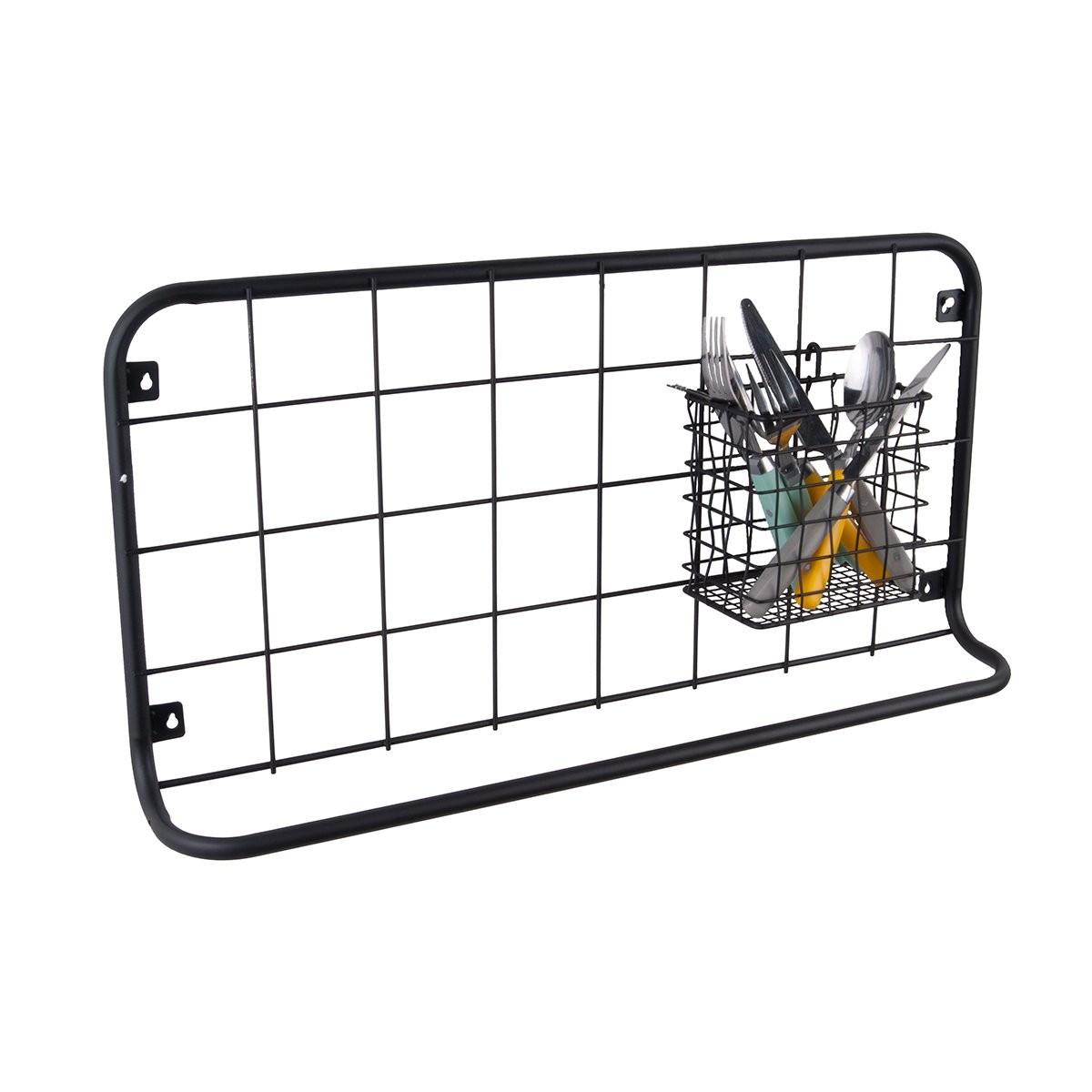 Levně PRESENT TIME Nástěnná police Open Grid – černá