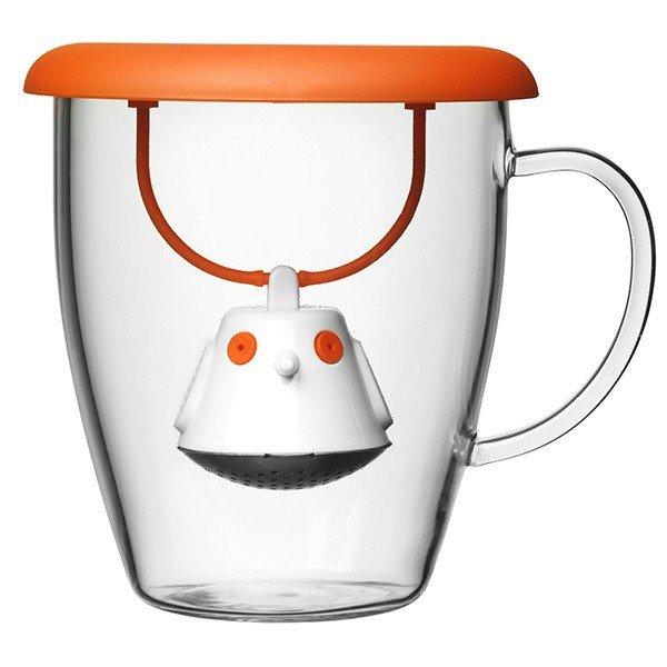 Hrneček s čajovým sítkem - oranžový