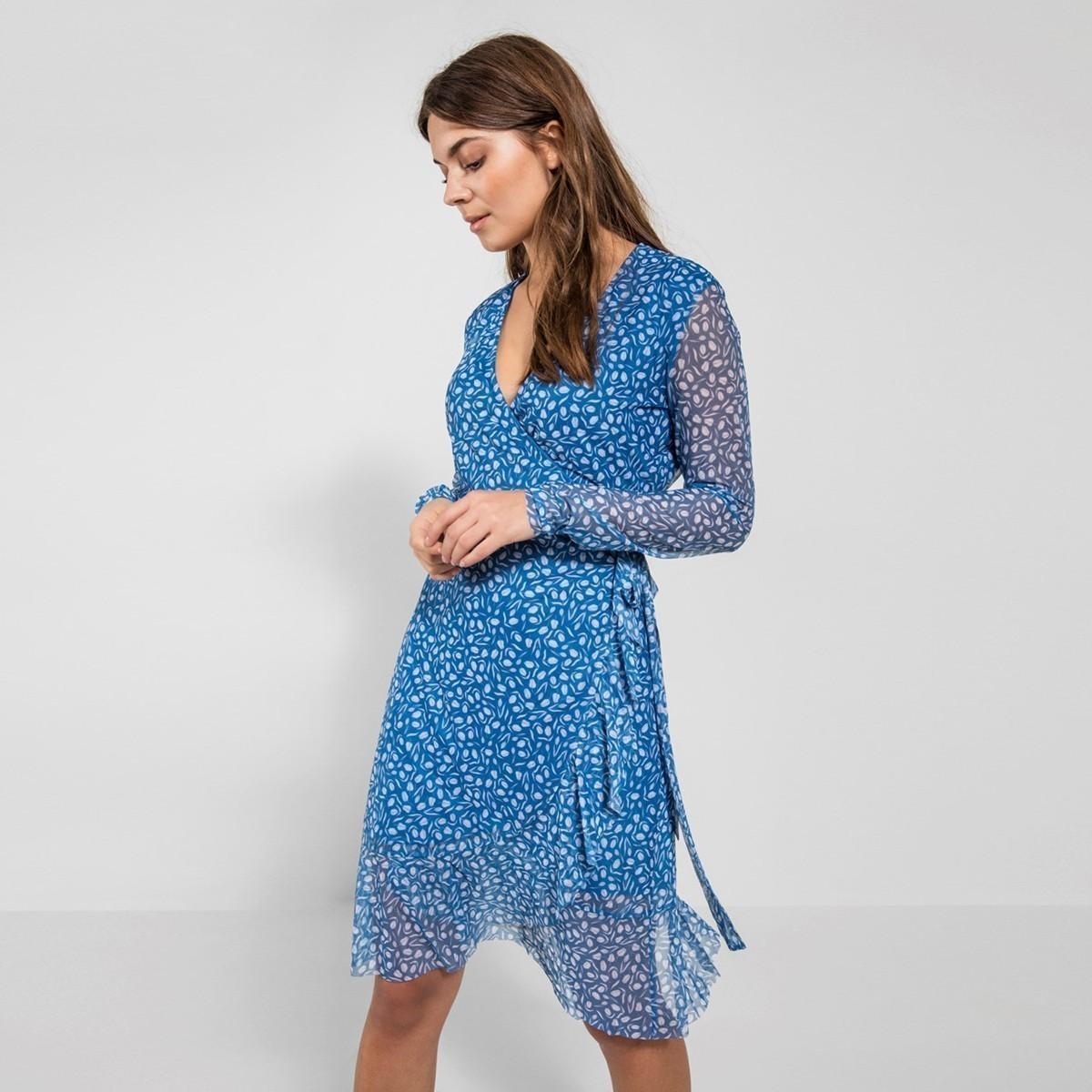 Modré zavinovací šaty – XS Pieces