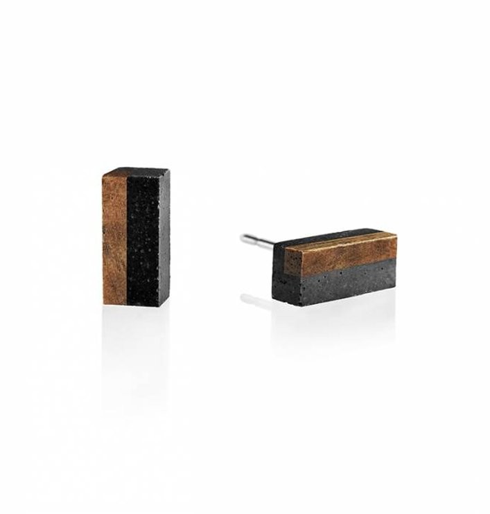 GRAVELLI JEWELLERY Naušnice Block Wood – antracit