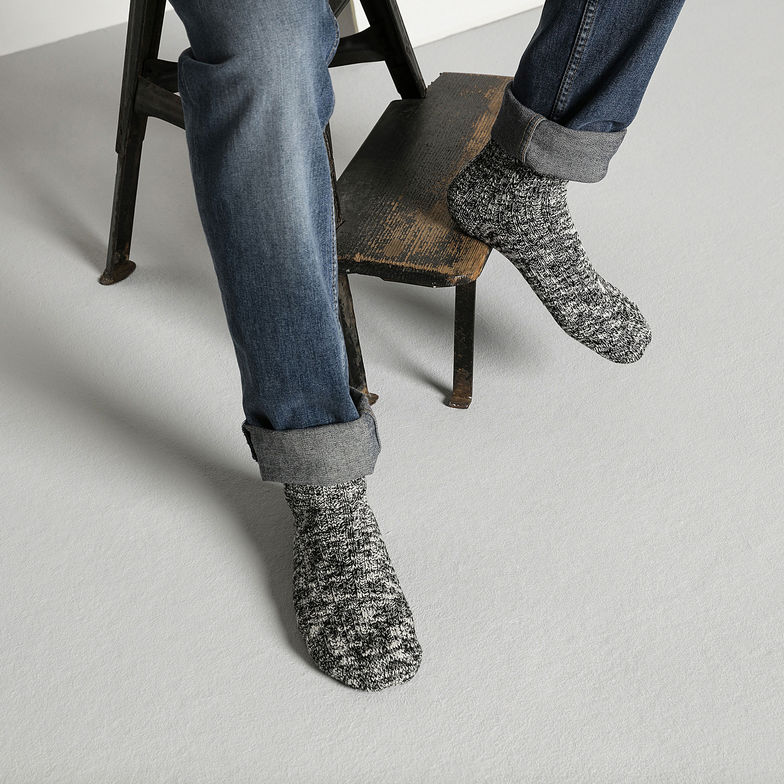 Černo-šedé bavlněné ponožky Cotton Slub – 36 - 38