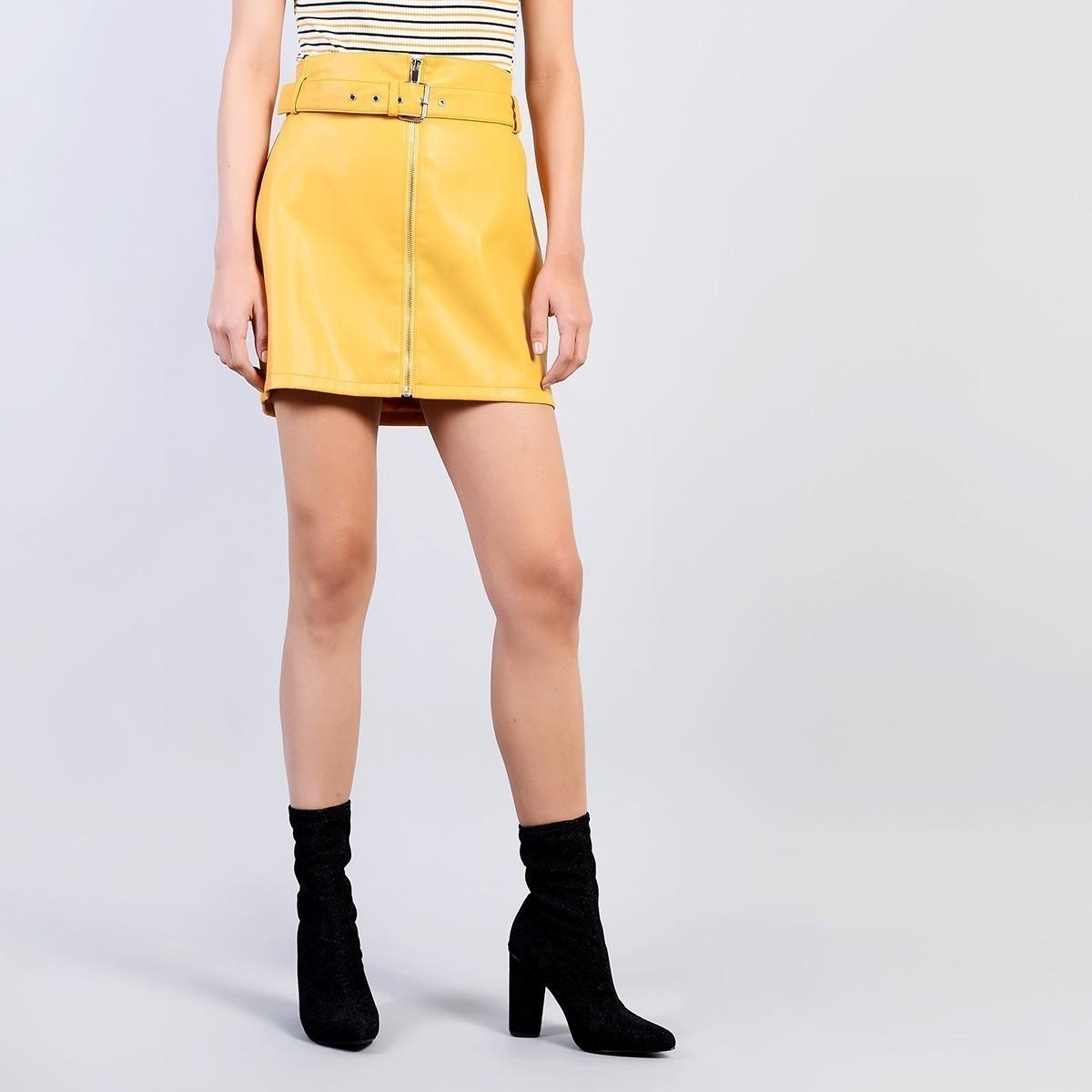dfed6ba1b55 Žlutá koženková sukně – S