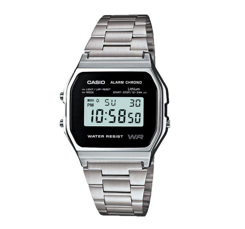 Stříbrné digitální hodinky A158WEA-1 138da1b892