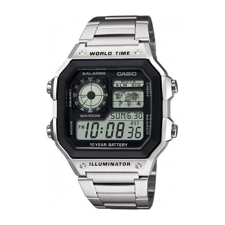 Stříbrné digitální hodinky AE1200WHD-1A