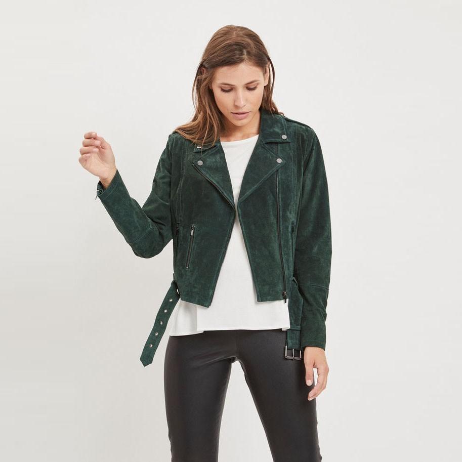 Tmavě zelený kožený křivák Vifaith – XS