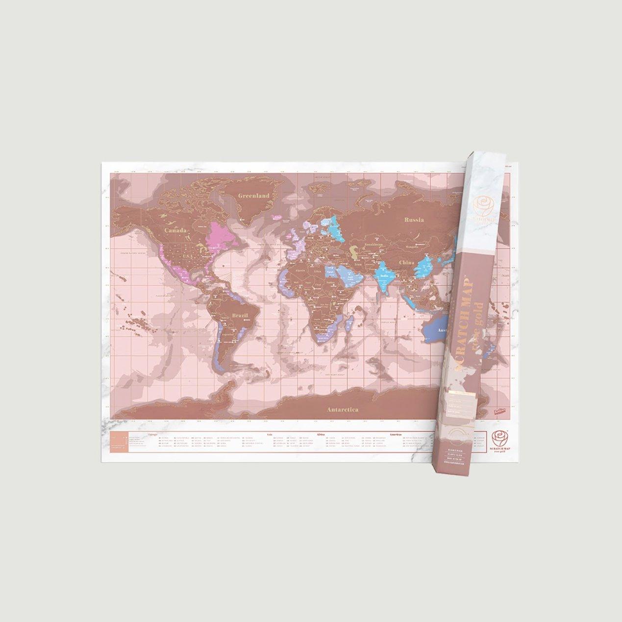 Stírací mapa světa Rose Gold