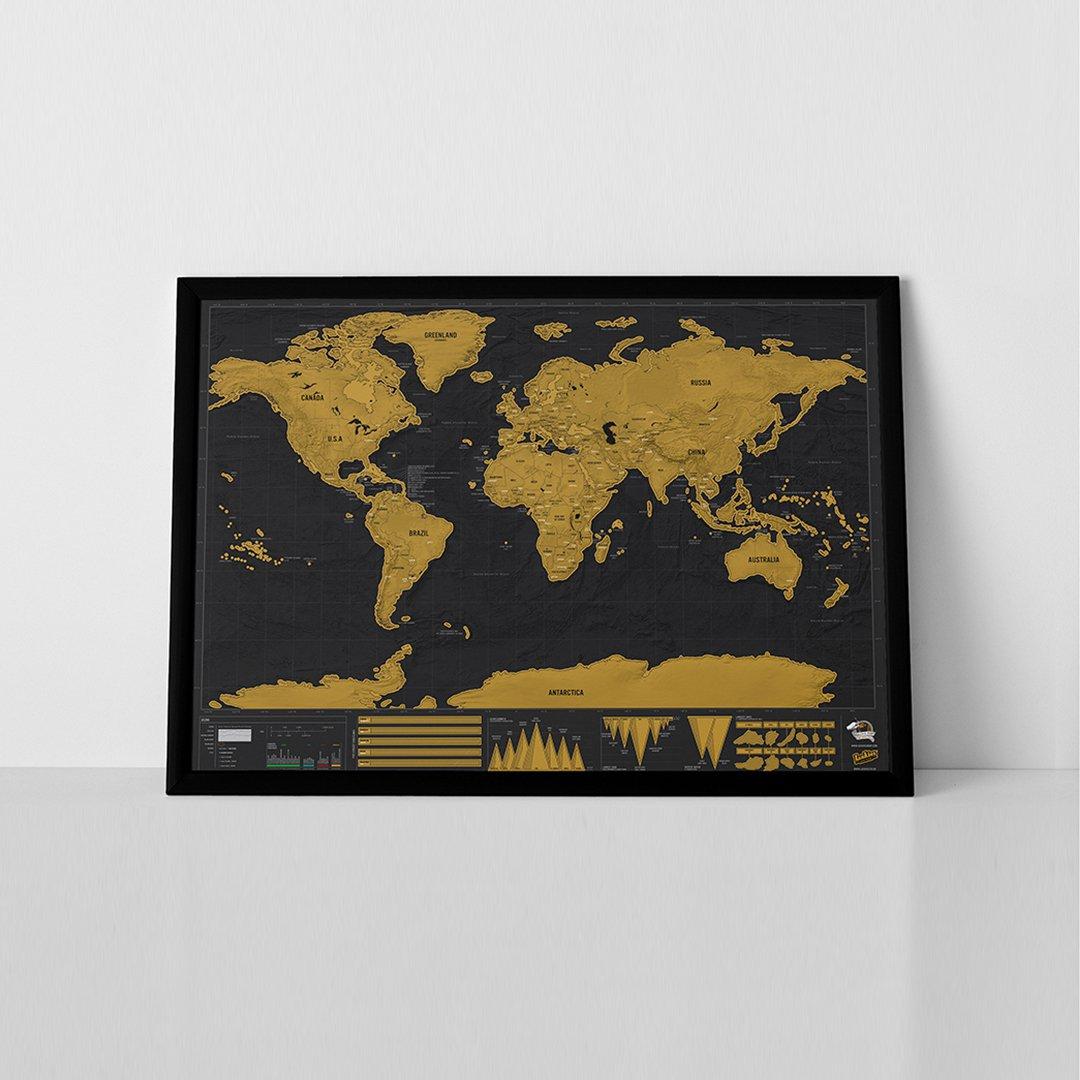 Stírací mapa světa DELUXE XL