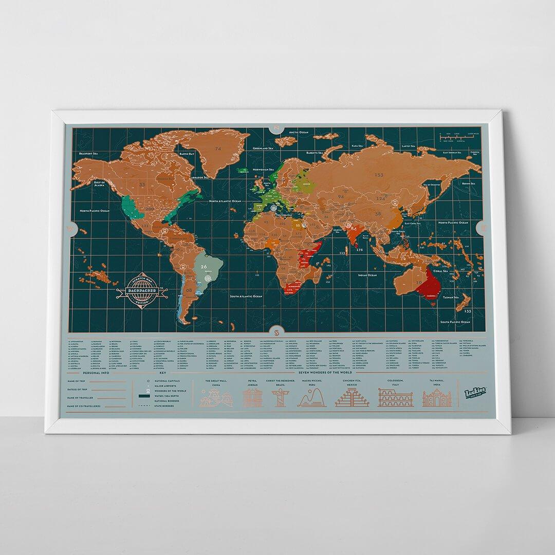 Stírací mapa světa BACKPACKER