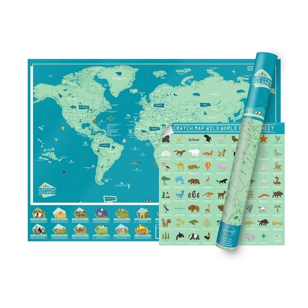 Stírací mapa světa WILD WORLD