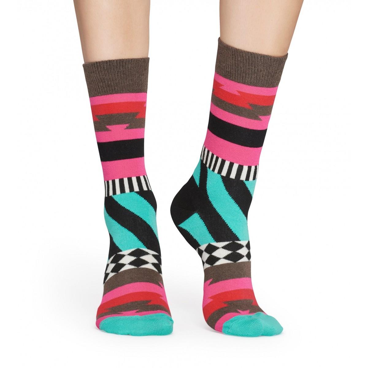 a7c86165a74 Hnědo-růžové vzorované ponožky Mix Max – 41 - 46