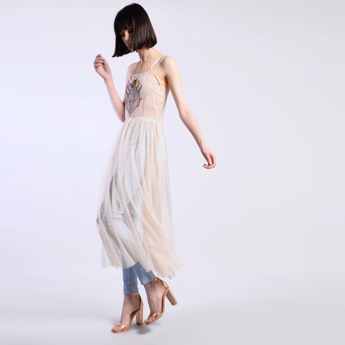 723b8b1b8195 Průsvitné šaty s aplikáciou – M