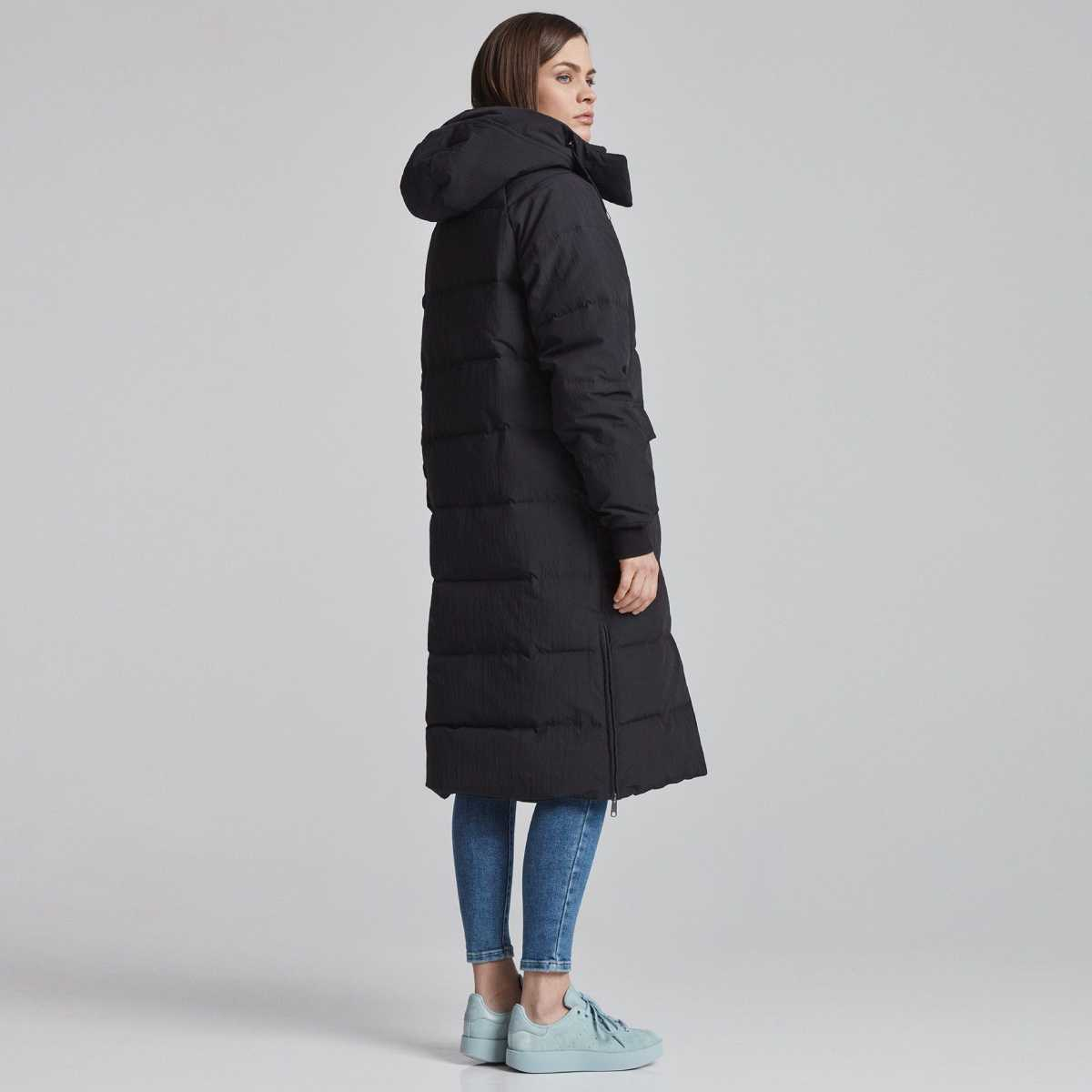 Dlouhá černá bunda Maajo – L