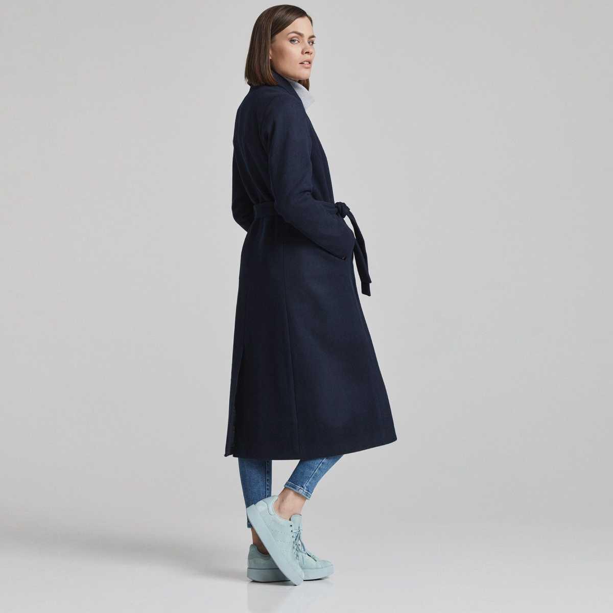 Tmavě modrý dlouhý kabát Aava – L