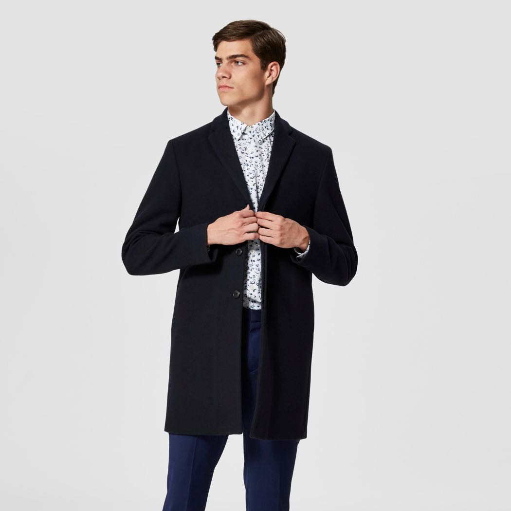 Vlněný tmavě modrý kabát Brove – XL