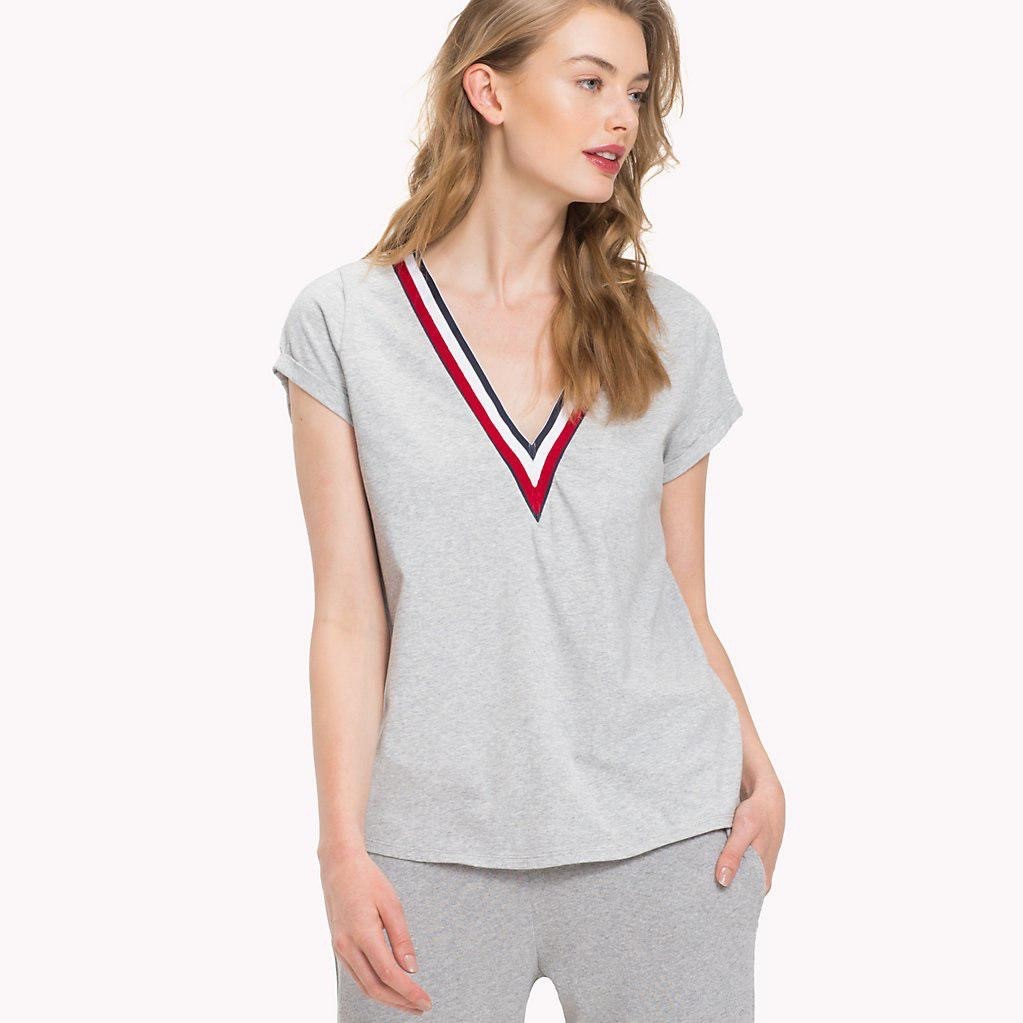 Šedé melírované tričko s V výstřihem Modern Stripe VN Tee – XS