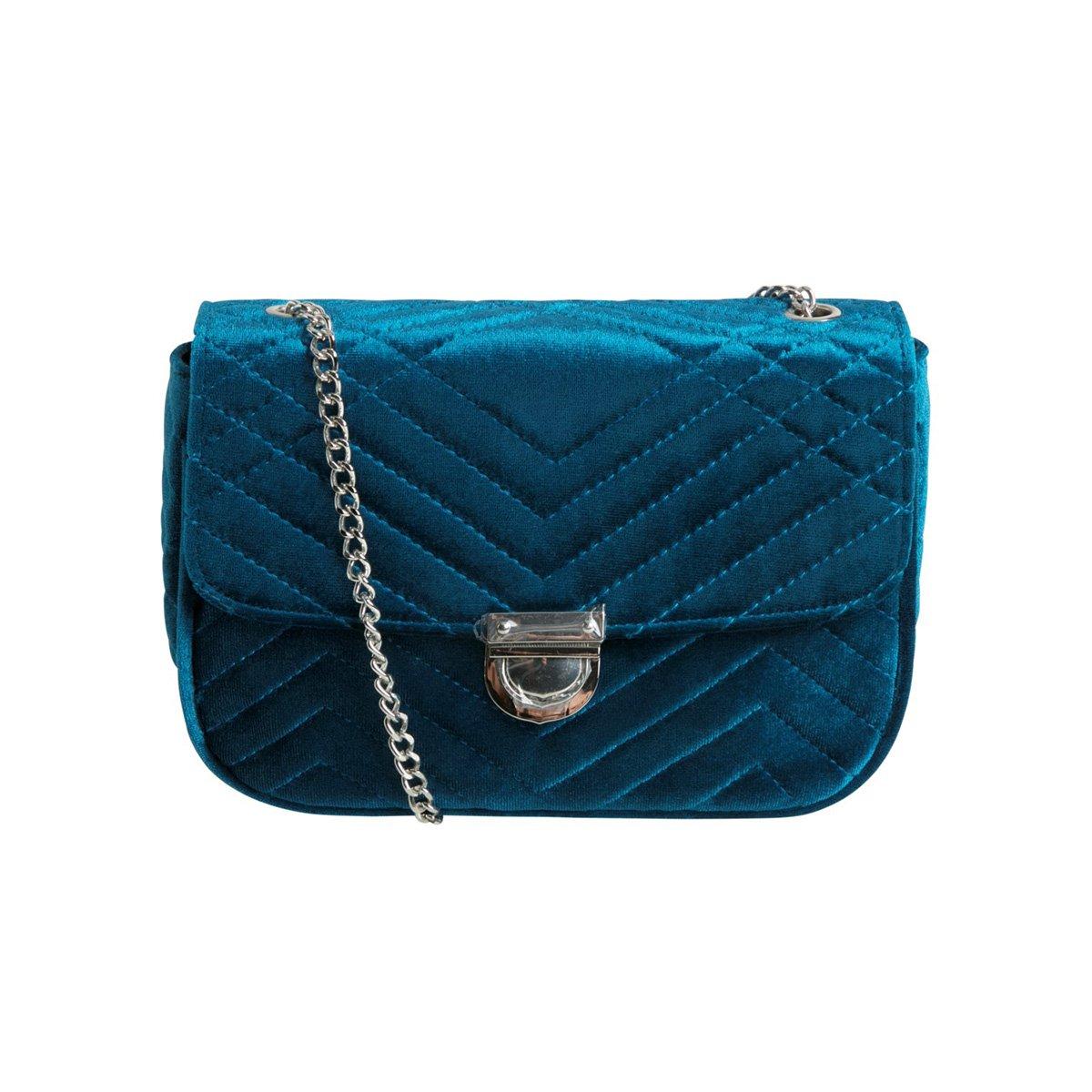 Sametová petrolejově modrá crossbody kabelka Taissa