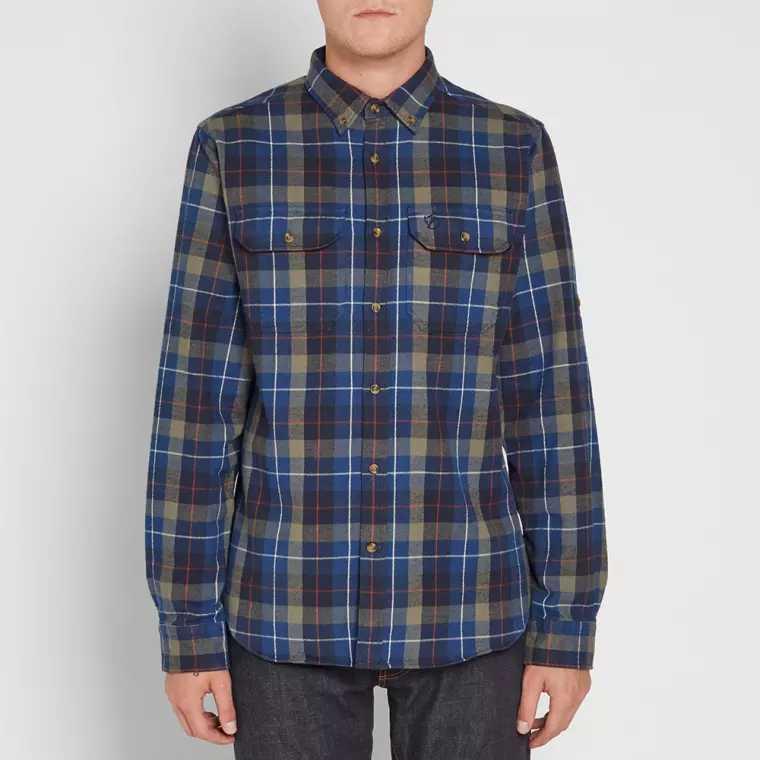 adee78b665a Flanelová tmavě modrá kostkovaná košile — L