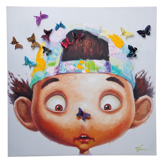 KARE DESIGN Obraz s ručními tahy Boy with Butterflys 100 × 100 cm