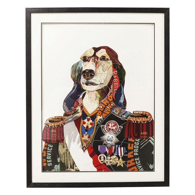 KARE DESIGN Obraz s rámem Art General Dog 90 × 72 cm