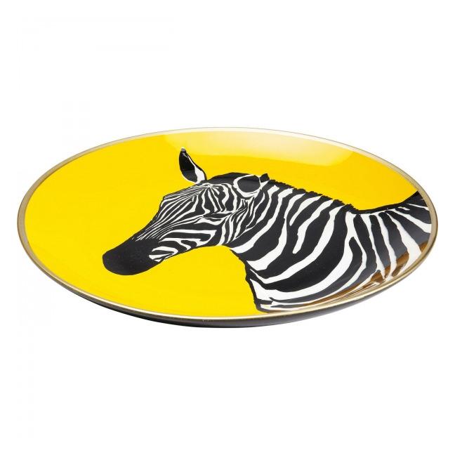 Dekorativní talíř Zebra - žlutá, 30 cm