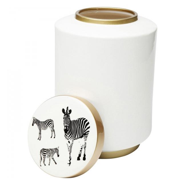 Dekorativní nádoba Zebra - 23 cm, bílá