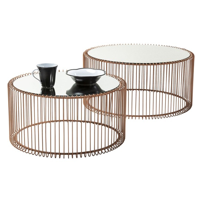 KARE DESIGN Konferenční stolek Wire Copper (2Set)