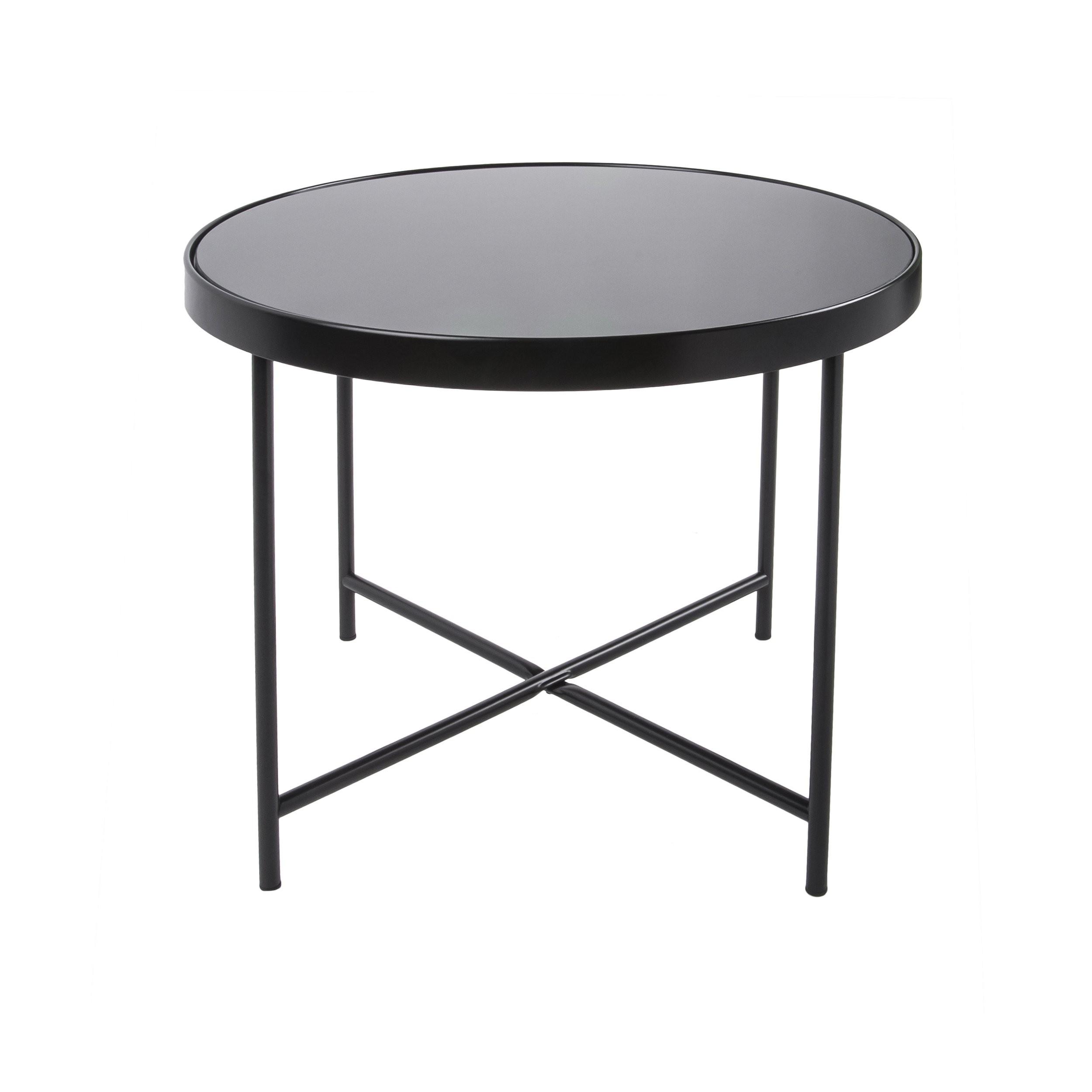 Velký černý stolek se skleněnou deskou