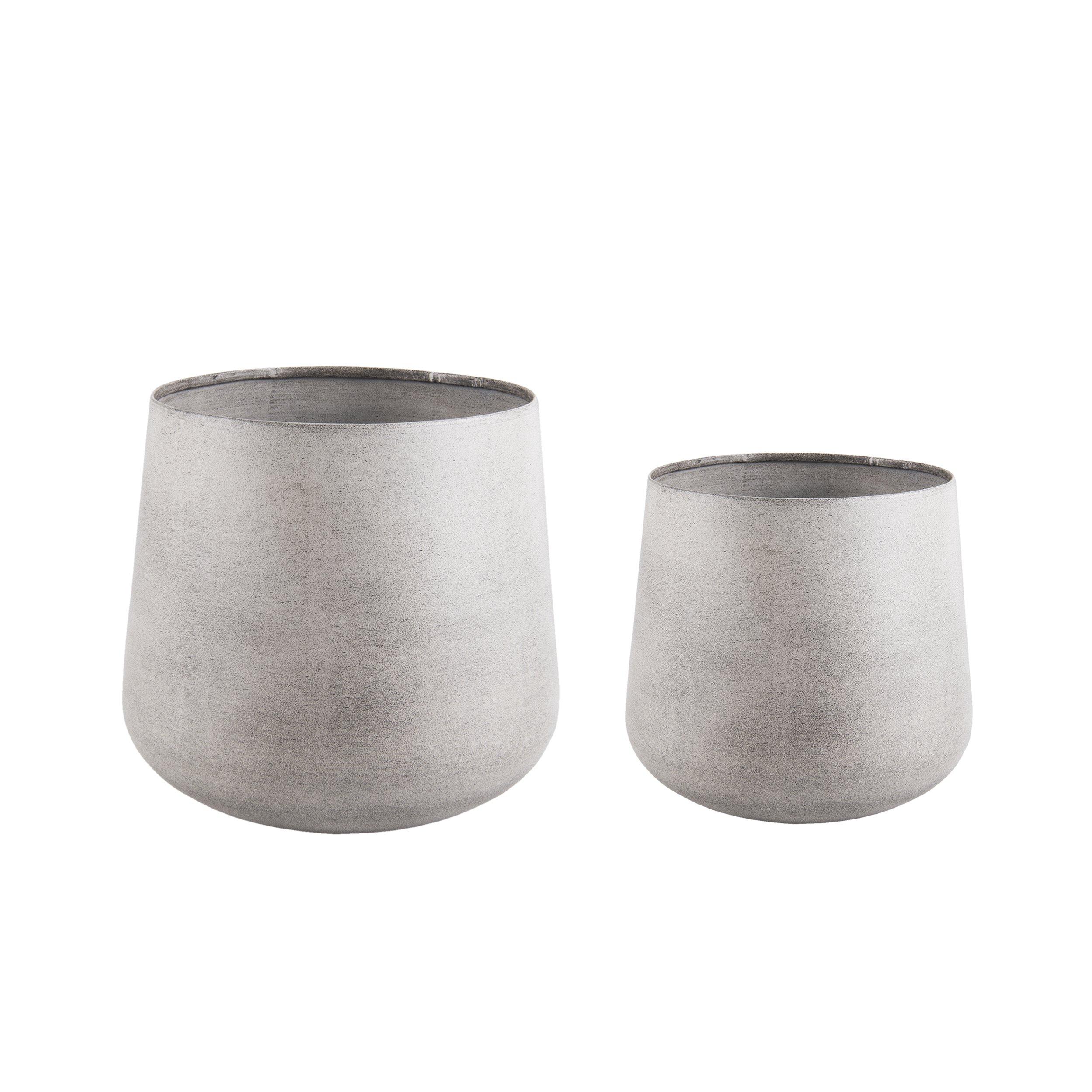 2 ks – Světle šedé kovové květináče Roughened