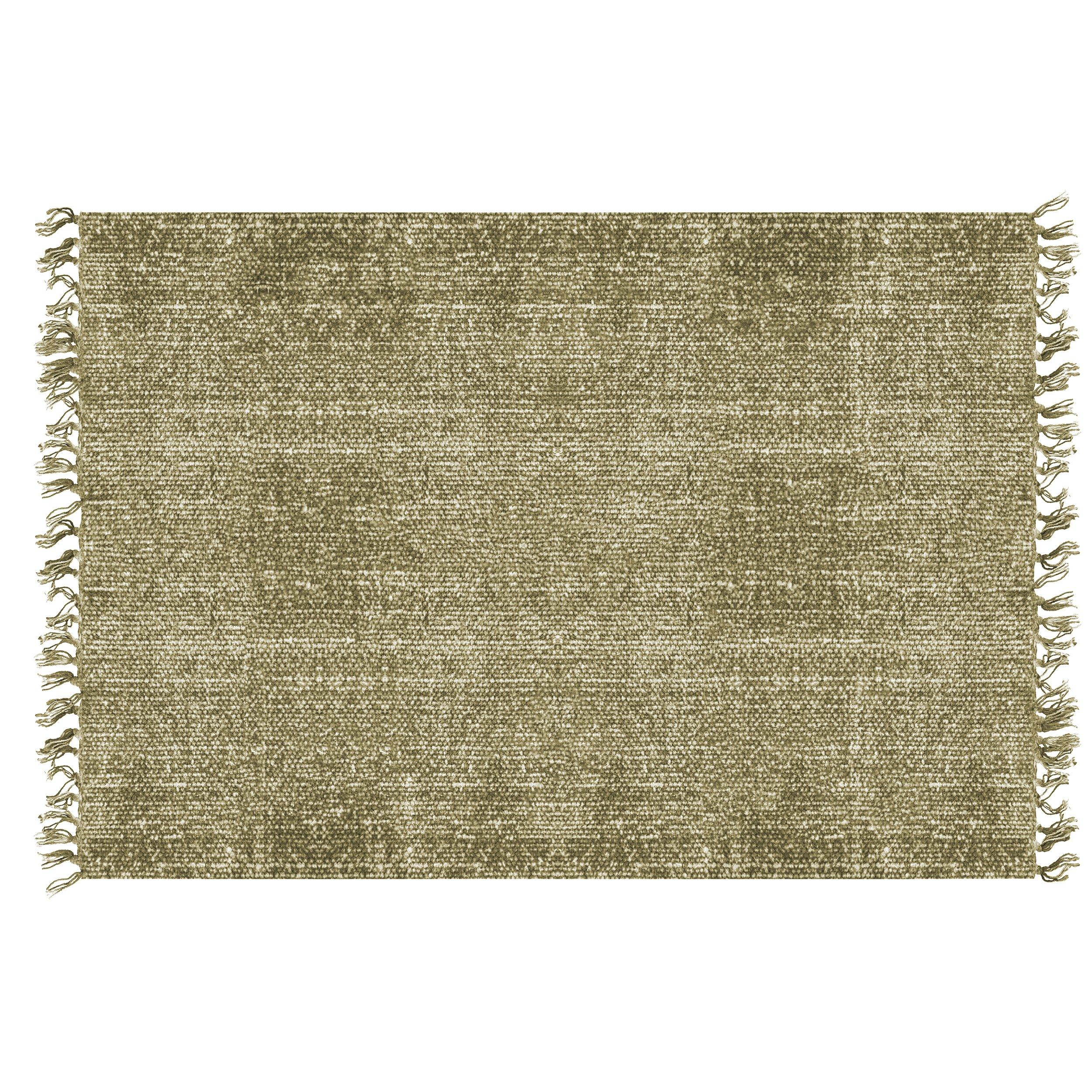 Bavlněný zelený koberec Washed Present Time
