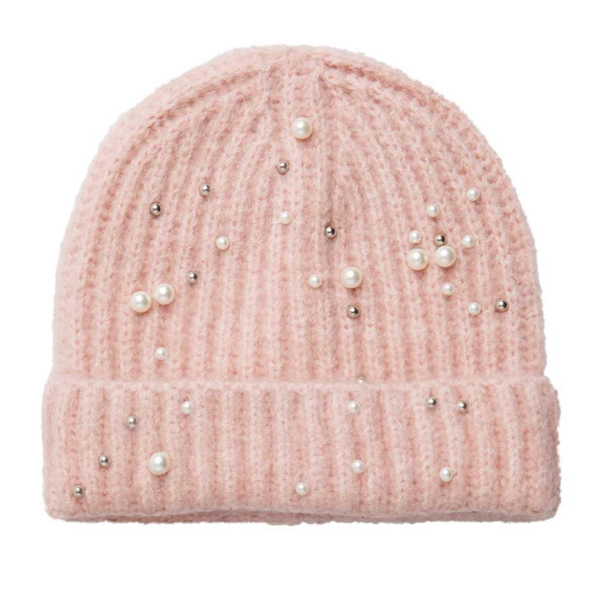 Světle růžová zimní čepice s perličkami 8ef4a3e617