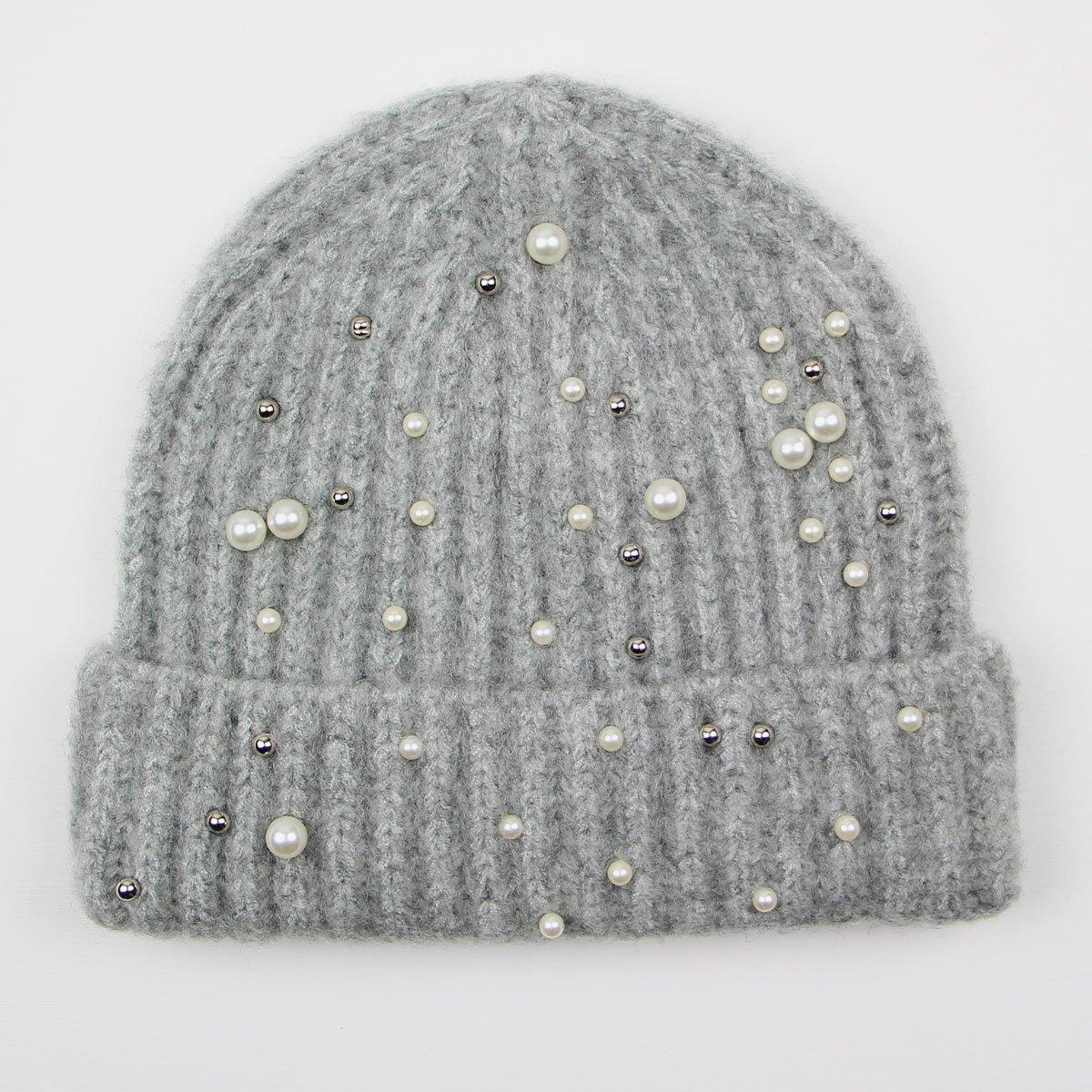 Světle šedá zimní čepice s perličkami c9263b4852