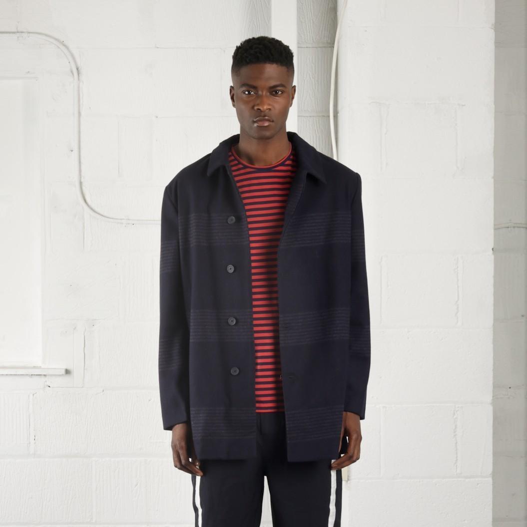 Vlněný tmavě modrý kabát Copley – S