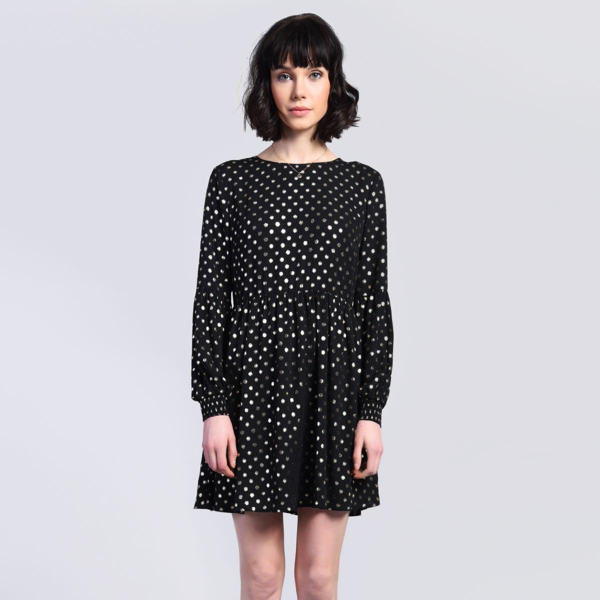 d2fb08175f73 Černé šaty se zlatými puntíky – XS