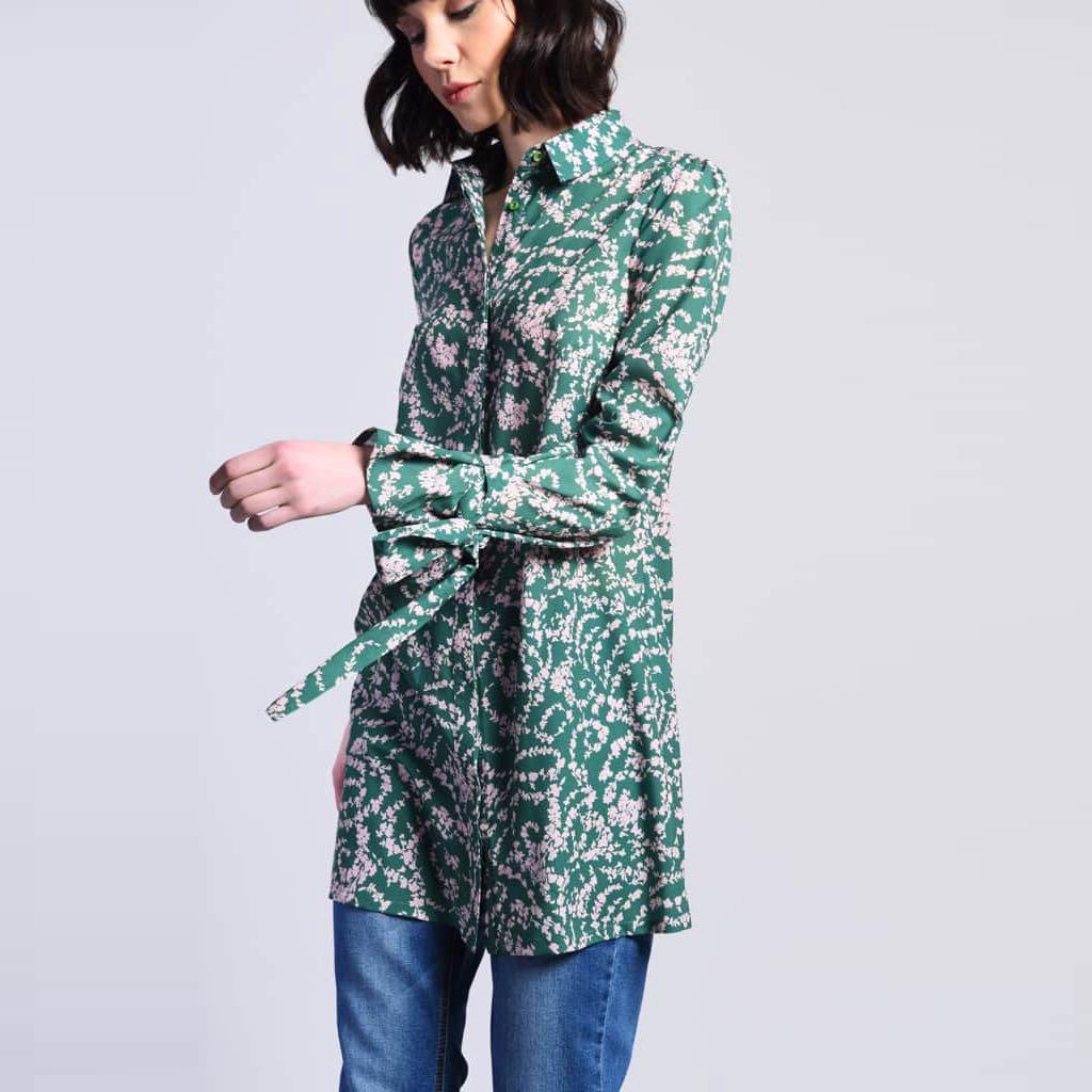 Zelené košilové šaty – S