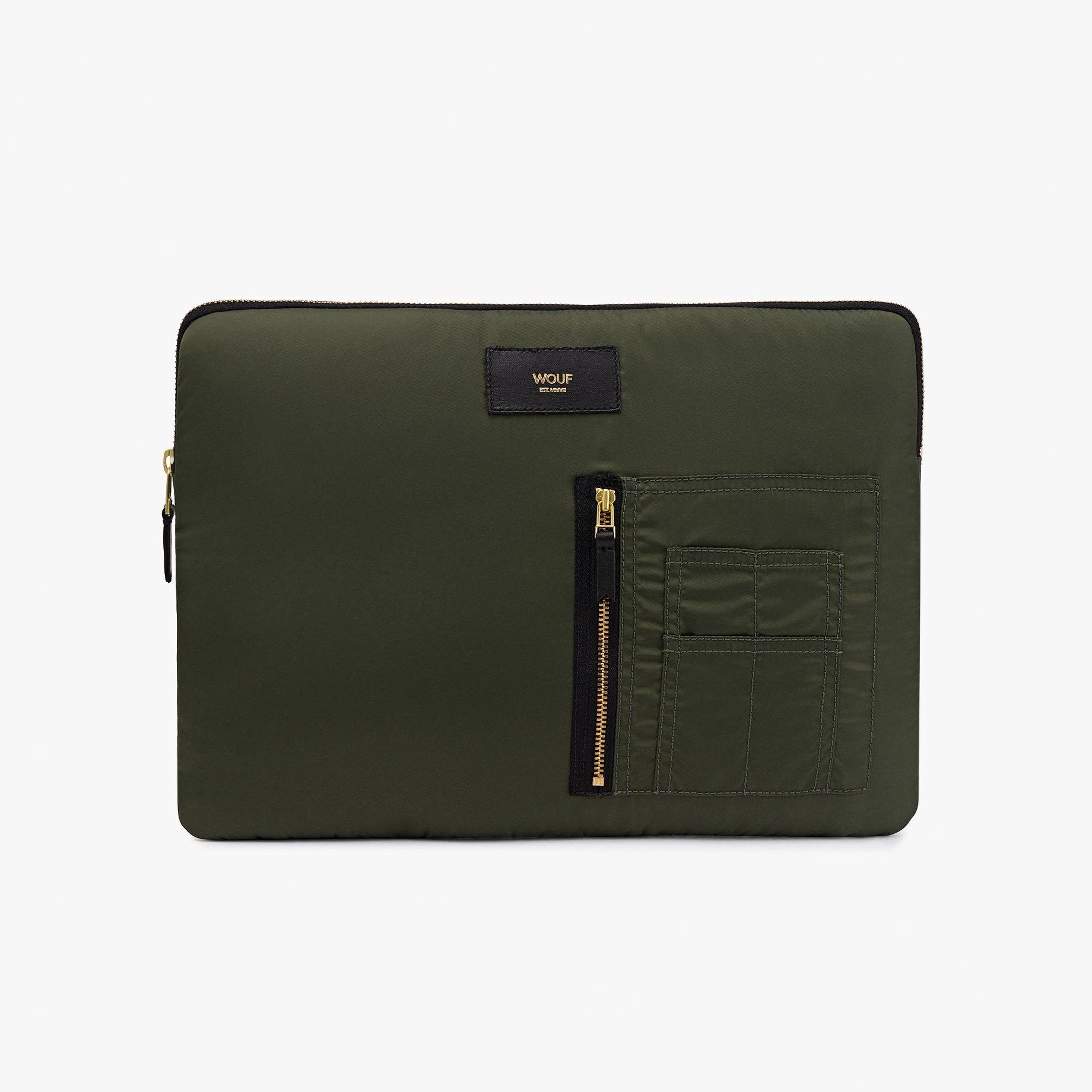 """Tmavě zelené pouzdro na notebook 13"""" Bomber WOUF"""