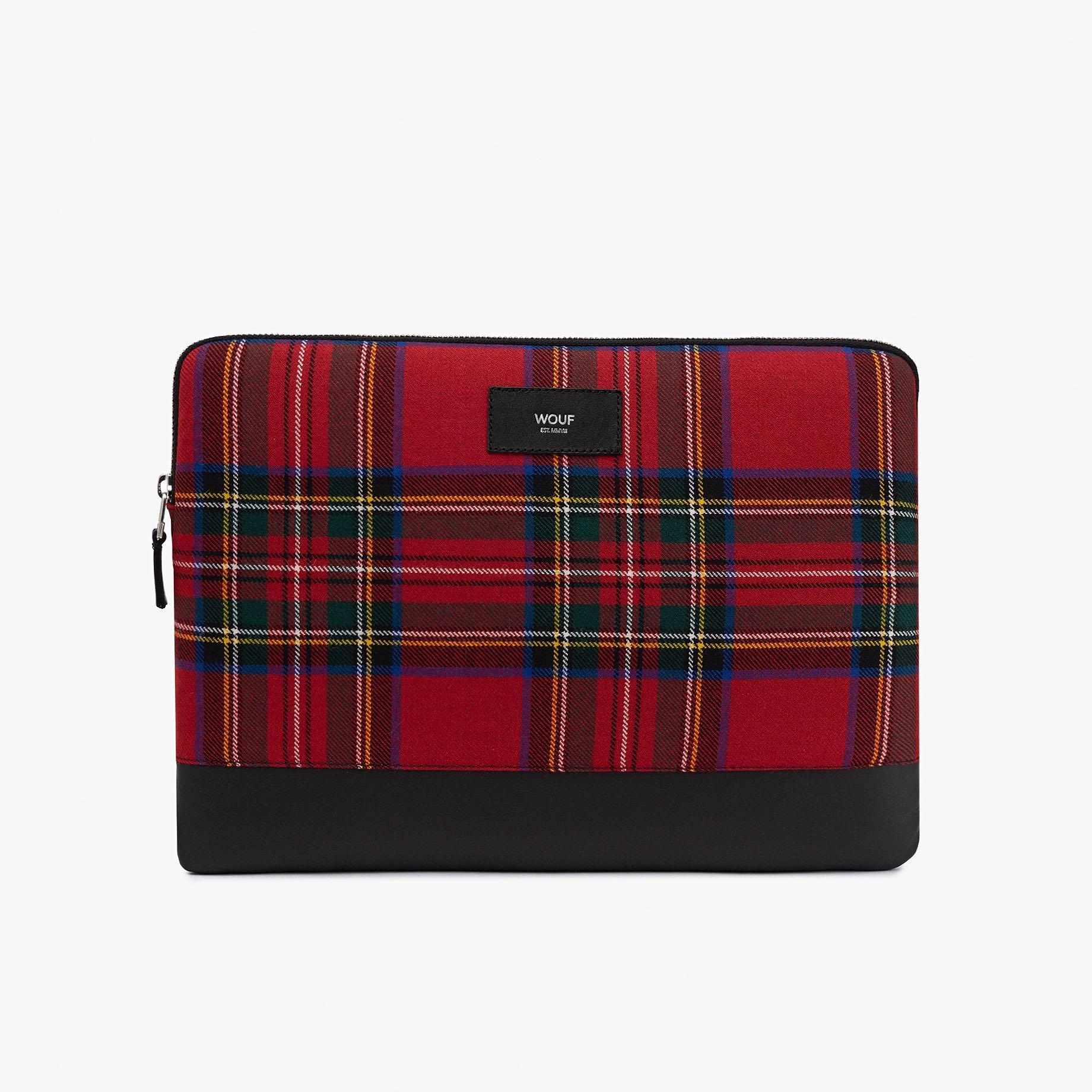 """Červené tartanové pouzdro na notebook 13"""" Scotland WOUF"""
