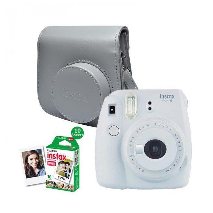 Sada šedý instantní fotoaparát Mini 9 + obal + 10 ks film