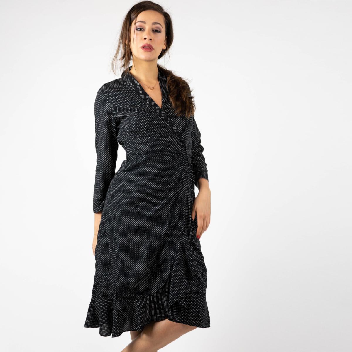 7a6a4e5a664a Černé zavinovací midi šaty Sany – M