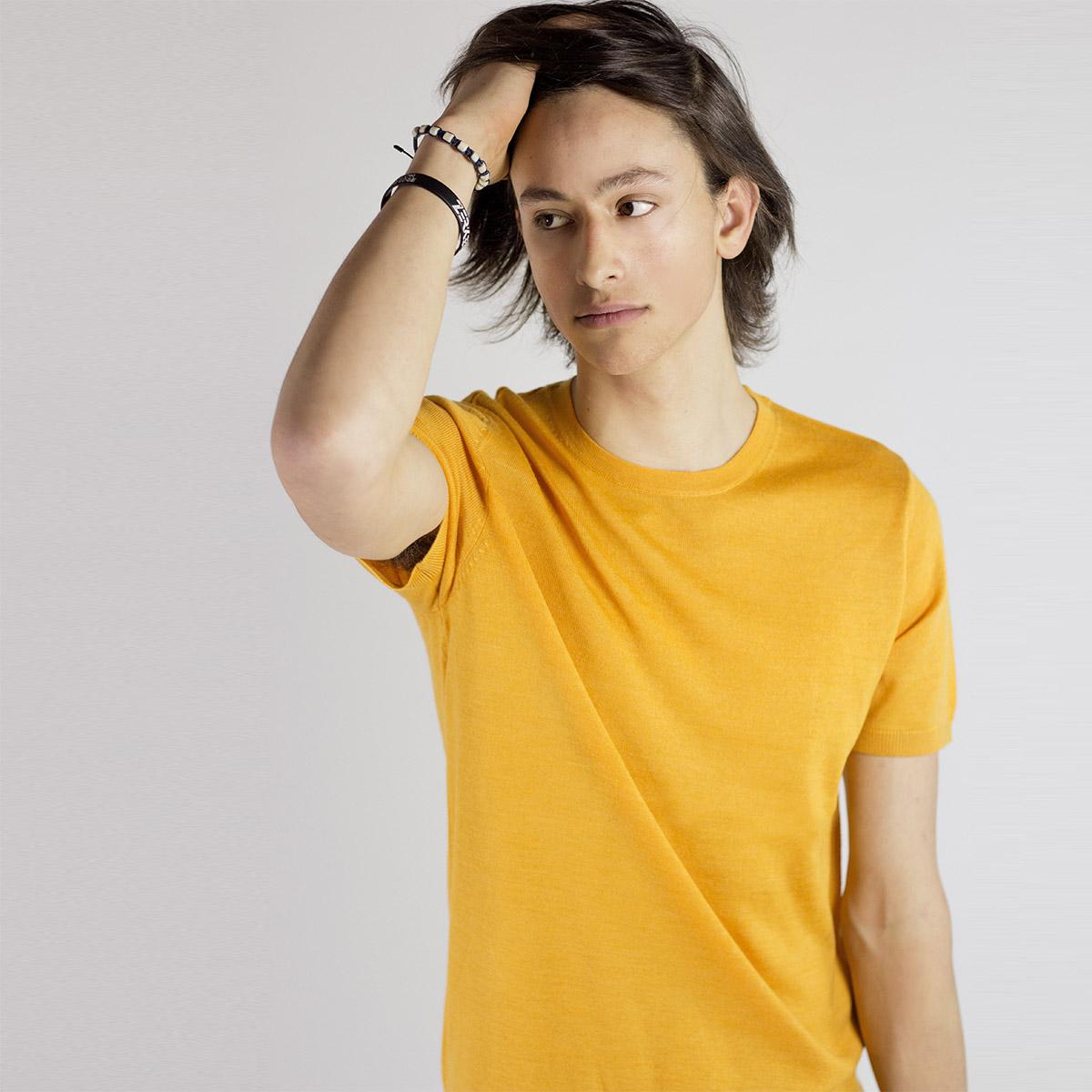 Žluté tričko z merino vlny Thom – S