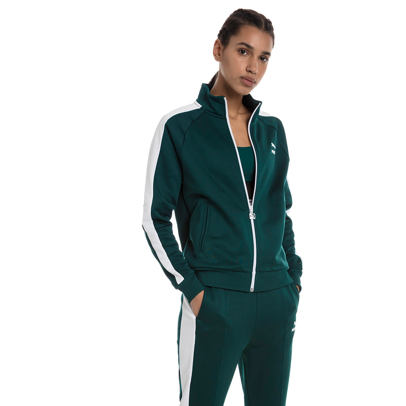 Zelená mikina Feel It Cover up Pullover Classics T7 Track Jacket – M Puma