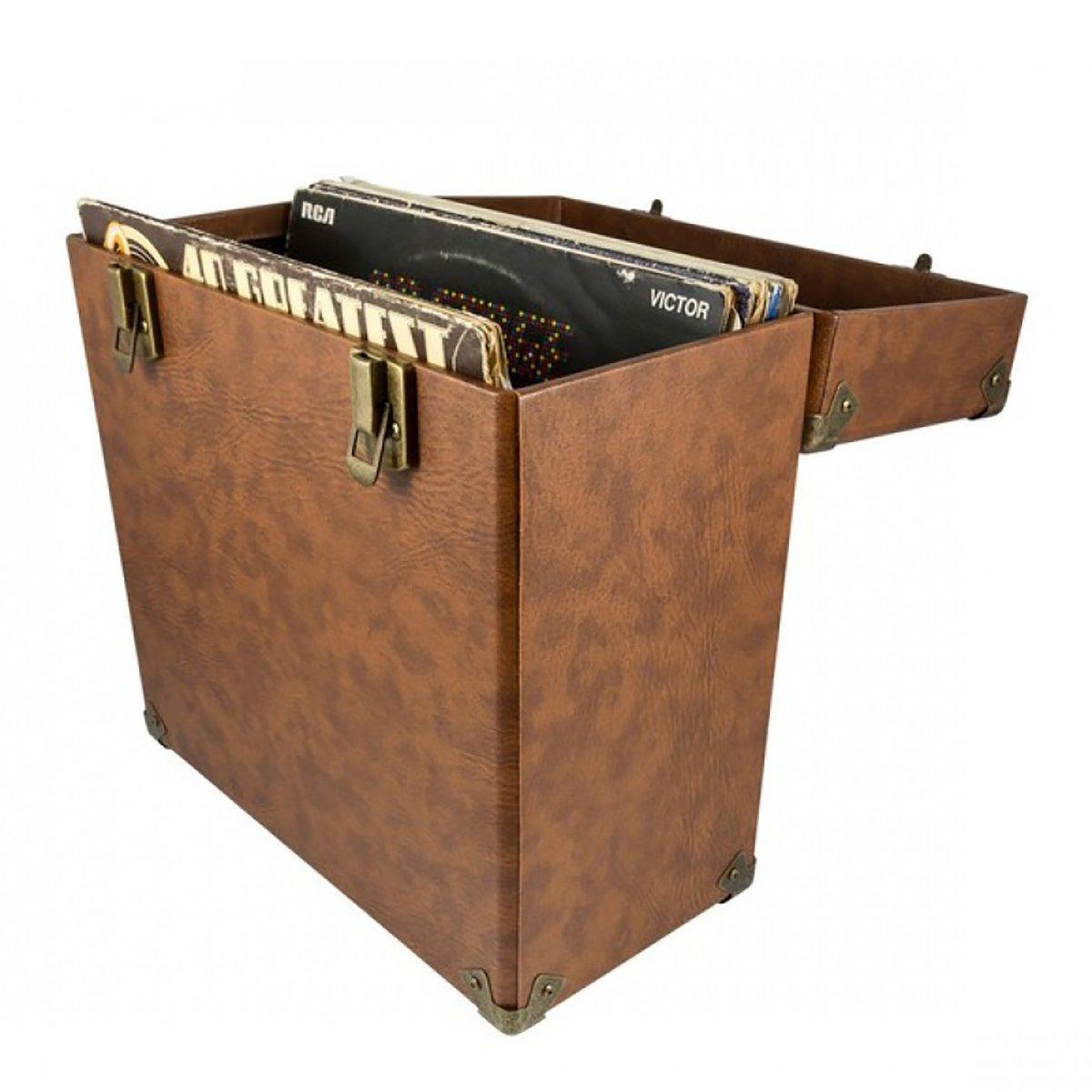 Box Vinylové desky Case Brown